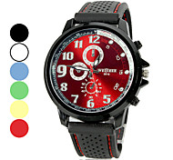 Unisex Alloy Round Dial Silicone Band Quartz Analog Wrist Watch (Assorted Colors)