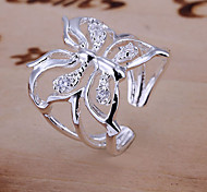Inlaid diamond butterfly ring opening