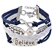 Lureme®Handmake Angel Wing with Pearl Believe Braided Bracelet