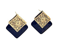 Japan and South Korea new jewelry wholesale vintage earrings square box section black gem earrings E99