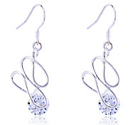 Lureme®925 Sterling Silver Plated Geometric Twisted  Zircon Earrings