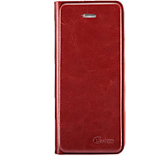 Red Luxury Retro Oil Wax Skin Leather Case for iPhone 5