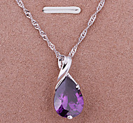 Silver Necklace.Fashion Jewelry With Purple Waterdrop Shape Pendant