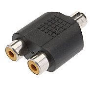 1 to 2 Female RCA Plug AV Splitter Adapter