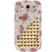 Hot Sell Fashion Beige Studded Studs Flowers Skin Cover Case for Samsung Galaxy S3 GT-i9300