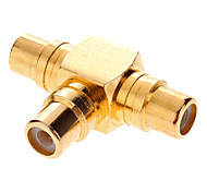 RCA 3xFemale AV Adapter T-Type banhados a ouro