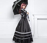 Long Sleeve Floor-length Black Satin Cotton Classic Lolita Dress