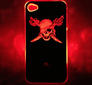 New Sense Skull With Pole Pattern Flash Light LED Skull Color Changing Hard Case for iPhone 4/4S