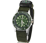Men's Sporty Round Dial Fabric Band Quartz Analog Wrist Watch (Green)