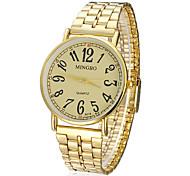 Concise or de modèle cadran rond bande d'alliage de montre bracelet à quartz analogique pour homme