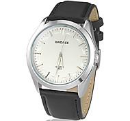 Concise style cadran rond PU bande de montre bracelet à quartz analogique pour hommes (couleurs assorties)
