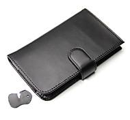 double pli noir cuir PU portefeuille avec fente pour carte pour l'iphone 4g / 4s