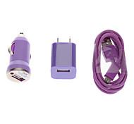 Kit Carregador 3 em 1 Carregador de Tomada + Carregador para Carro+ Micro USB para Celular Samsung Galaxy