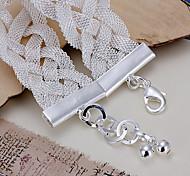 Trendy 21cm Women's Silver Copper Bracelets