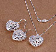 Heart-Shaped Silver Jewelry Set