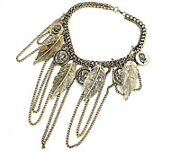 Korea Style Leaf Tassel Choker Necklace