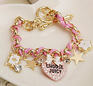 Love Heart Star Poker  Leather Rope Bracelet