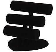 3-In-A-Set Black Flannelette Bracelet Display Stand