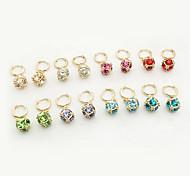Rubik's cube crystal earrings