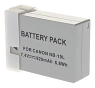 Shoot NB-10L Replacement 7.4V 920mAh Li-ion Battery for Canon SX40HS + More - Grey
