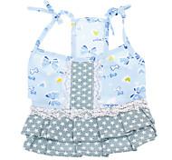 Dog Dress Blue Summer Bowknot