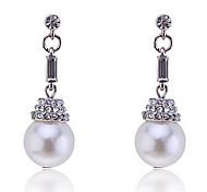 Lureme®Crystals Pearl Drop Earrings