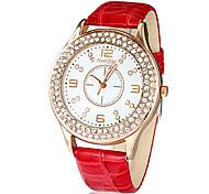 Vrouwen dubbele Diamante ronde wijzerplaat pu band quartz analoog horloge (verschillende kleuren)