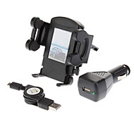 Air Vent Holder Mount + Noir Chargeur allume-cigare + Câble USB pour Samsung Galaxy S4 i9500/S3 i9300