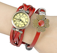 Women's Vintage Style Dial PU Band Quartz Analog Wrist Watch (Assorted