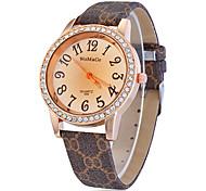 Diamante Round Dial bowknot Padrão Pu banda quartzo analógico relógio de pulso da Mulher (cores sortidas)