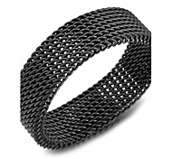 (1pc) Fashion Man'S Black/Silver Titanium Steel Band Ring