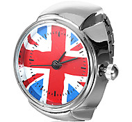Women's UK Flag Pattern Silver Alloy Quartz Ring Watch