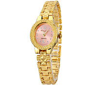 Women's Pink Dial Gold Alloy Band Quartz Analog Wrist Watch Cool Watches Unique Watches
