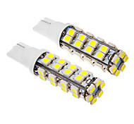2 piezas T10 2W 38x3528SMD 100-150LM 6000K Cool White LED Light Bulb (12V)