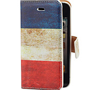 Vintage France Flag Pattern PU Full Body Case with Card Slot and Stand for iPhone 4/4S