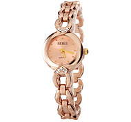 Women's Rose Gold Dial Alloy Band Quartz Analog Wrist Watch
