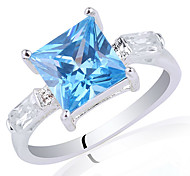 WomenClassic S925 Sterling Silver Ring With 8X8Mm Princess Shape Zircon