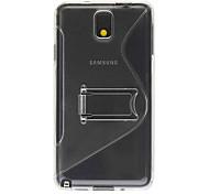 TPU Transparent S Shaped Fall-Abdeckung mit Standplatz für Samsung Galaxy Hinweis3