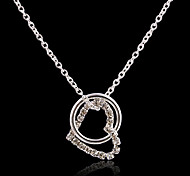 Fashion Heart Pendant Silver Plated Pendant Necklace (Silver) (1 Pc)