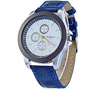 Cadran rond PU bande de quartz analogique montre-bracelet des femmes (couleurs assorties)