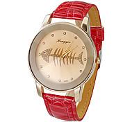 Women's Fish Bones Pattern Dial PU Band Quartz Analog Wrist Watch (Assorted Colors)