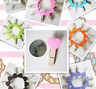 50 X Mini Mix Colors Peach Heart Craft Wooden Clips