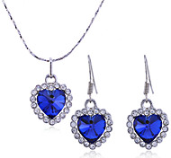 Lureme®Ocean Heart Earrings and Necklace Jewelry Set