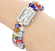 Women's Colorful Beads Plastic Chain Quartz Analog Bracelet Watch