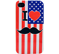 US Flag Mustache Soft TPU IMD Case for iPhone 4/4S