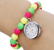Mulheres brancas Dial grânulos coloridos banda quartzo analógico pulseira relógio