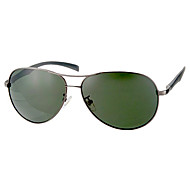 Men's Dark Green Lens Gray Frame UV Protection Polarized Aviator Sunglasses (Grey)