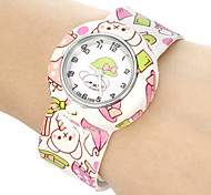 Children's Cartoon Bear Pattern Bendable Plastic Band Slap Watch Cool Watches Unique Watches