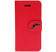 Silk Print PU Full Body Case with Mustache Button and Card Slot for iPhone 5C (Assorted Colors)