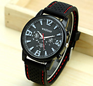 Men's White Black Dial Black Silicone Band Outdoor Sport Quartz Analog Wrist Watch Cool Watch Unique Watch Fashion Watch
